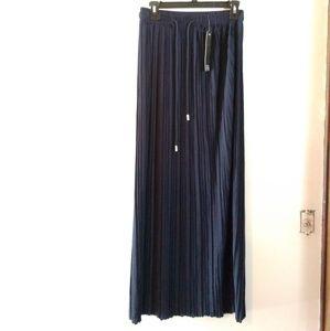 NWT New Mix Pleated Navy Blue Maxi Skirt